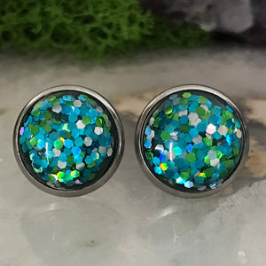 Aqua Blue Irridecent Earrings | 12mm Glitter earrings | galaxy earrings | crystal earrings | Sparkle studs | round earrings | Stainless