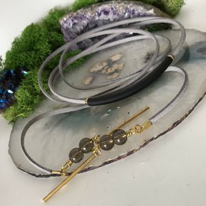 Grey Choker Necklace | Suede Choker | Smokey Quartz Crystal Choker | Wrap Choker | Gold Choker | Stack Choker | Vegan Suede | Black Bar