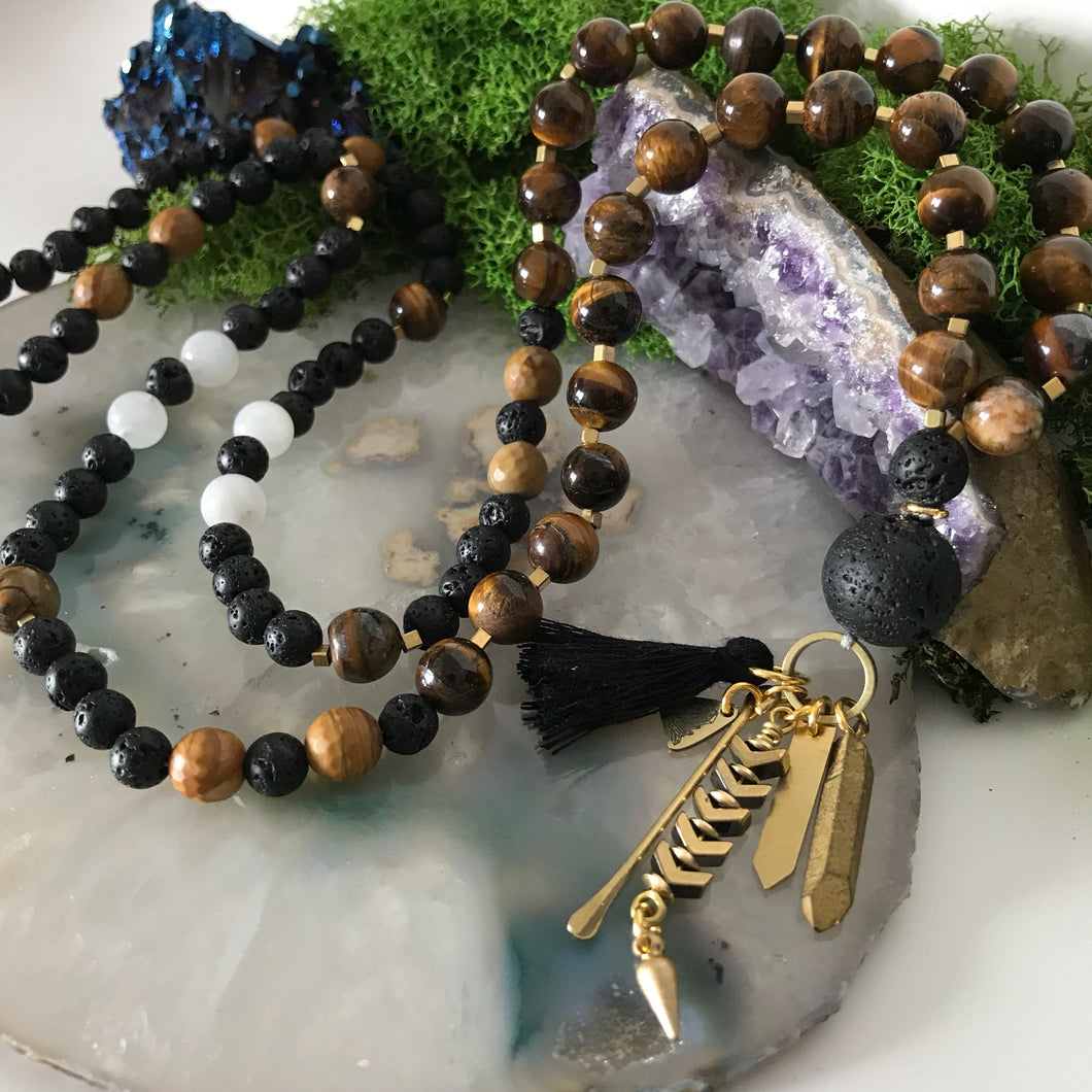 Mala Necklace | Aromatherapy Necklace | Lavastone Necklace | Prayer Necklace | Yoga Necklace | tigers eye necklace | beaded Necklace | boho