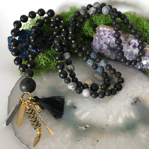 Mala Necklace | Aromatherapy Necklace | Lavastone Necklace | Prayer Necklace | Yoga Necklace | Black Agate necklace | beaded mala Necklace