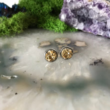 Gold Earrings | 8 mm druzy earrings | Galaxy Earring | Crystal Earring | Faux Druzy Stud | 8mm Round | Hypoallergenic | Stainless Steel