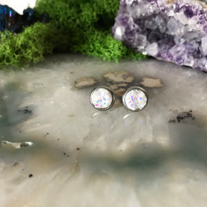 White Earrings | 8 mm druzy earrings | Galaxy Earring | Crystal Earring | Faux Druzy Stud | 8mm Round | Hypoallergenic | Stainless Steel