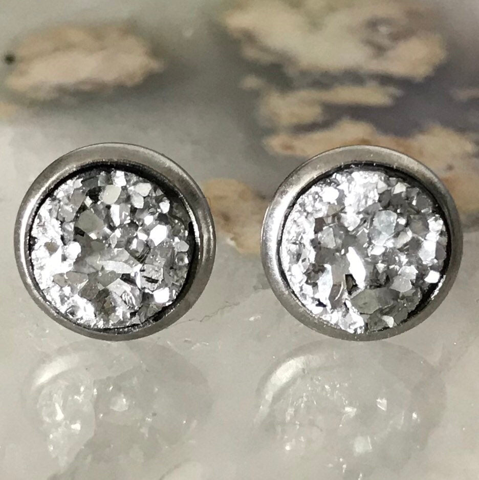 Silver Earrings | 8 mm druzy earrings | Galaxy Earring | Crystal Earring | Faux Druzy Stud | 8mm Round | Hypoallergenic | Stainless Steel