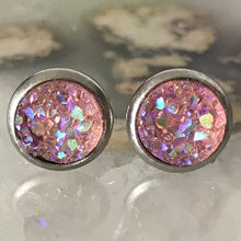 Baby Pink Earrings | 8 mm druzy earrings | Galaxy Earring | Crystal Earring | Faux Druzy Stud | 8mm Round | Hypoallergenic | Stainless Steel
