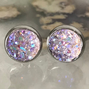 Light Purple Earrings | 8 mm druzy earrings | Galaxy Earring | Crystal Earring | Faux Druzy Stud | 8mm Round | Hypoallergenic | Stainless