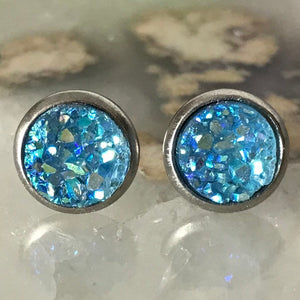 Light Blue Earrings | 8 mm druzy earrings | Galaxy Earring | Crystal Earring | Faux Druzy Stud | 8mm Round | Hypoallergenic | Stainless