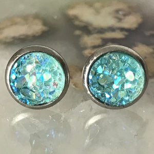 Mint green Earrings | 8 mm druzy earrings | Galaxy Earring | Crystal Earring | Faux Druzy Stud | 8mm Round | Hypoallergenic | Stainless