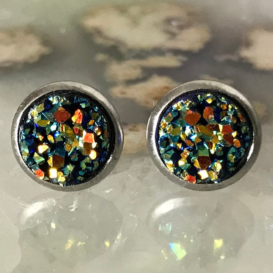 Dark green Earrings | 8 mm druzy earrings | Galaxy Earring | Crystal Earring | Faux Druzy Stud | 8mm Round | Hypoallergenic | Stainless