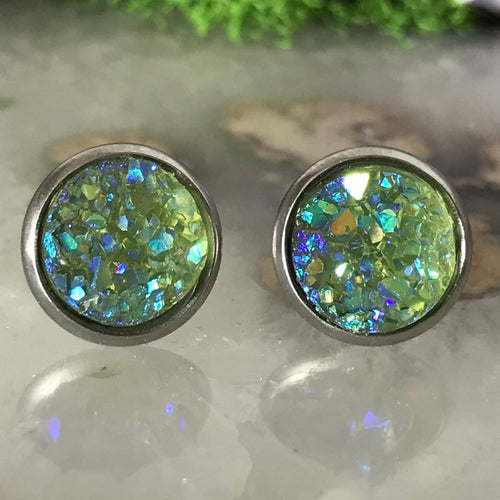 Olive Green Earrings | 10 mm druzy earrings | Galaxy Earring | Crystal Earring | Faux Druzy Stud | 10mm Round | Hypoallergenic | Stainless