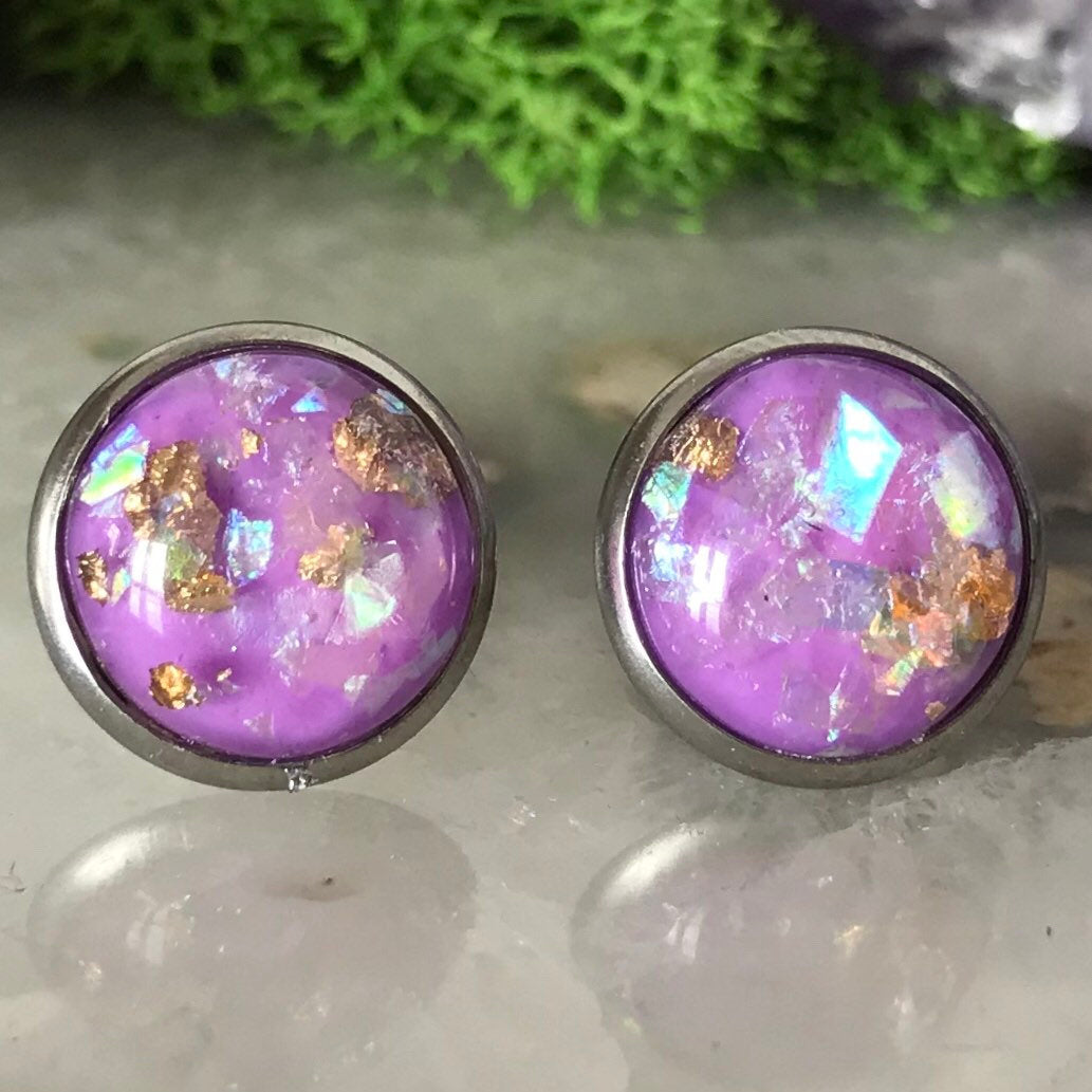 Purple Opal Earrings | 12mm Sparkle earrings | galaxy earrings | crystal earrings | round earrings | geometric | hypoallergenic | Stainless