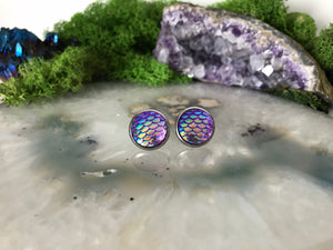 Purple Mermaid Earrings |  12mm Mermaid Studs | Stainless Steel  | Dragon Scale | Fish Scale Studs | Mermaid Scale Earrings | Dragon Earring