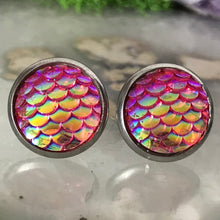 Pink Mermaid Earrings |  12mm Mermaid Studs | Stainless Steel  | Dragon Scale | Fish Scale Studs | Mermaid Scale Earrings | Dragon Earring