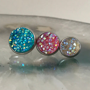 Clear Rainbow druzys | 12mm druzy earrings | galaxy earrings | crystal earrings | druzy studs | round earrings | Stainless Steel | faux druz