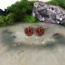 Rust druzys | 12mm druzy earrings | galaxy earrings | crystal earrings | druzy studs | round earrings | Stainless Steel | faux druzy