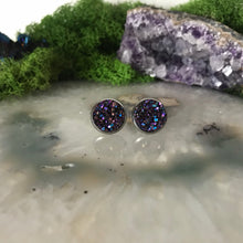 Dark Purple druzys | 12mm druzy earrings | galaxy earrings | crystal earrings | druzy studs | round earrings | Stainless Steel | faux druzy