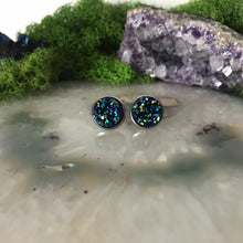 Blue Green druzys | 12mm druzy earrings | galaxy earrings | crystal earrings | druzy studs | round earrings | Stainless Steel | faux druzy