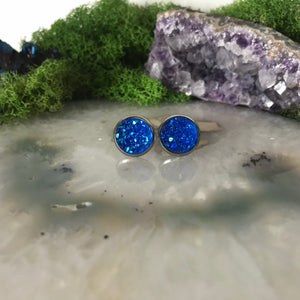 Royal Blue druzys | 12mm druzy earrings | galaxy earrings | crystal earrings | druzy studs | round earrings | Stainless Steel | faux druzy