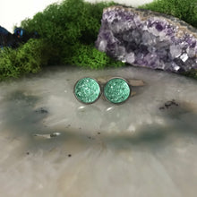 Mint druzys | 12mm druzy earrings | galaxy earrings | crystal earrings | druzy studs | round earrings | Stainless Steel | faux druzys