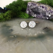 White druzys | 12mm druzy earrings | galaxy earrings | crystal earrings | druzy studs | round earrings | Stainless Steel | faux druz