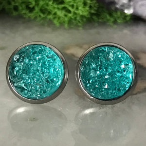 Lake Blue druzys | 12mm druzy earrings | galaxy earrings | crystal earrings | druzy studs | round earrings | Stainless Steel | faux