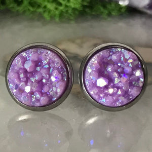 Lilac Purple druzys | 12mm druzy earrings | galaxy earrings | crystal earrings | druzy studs | round earrings | Stainless Steel | faux druzy
