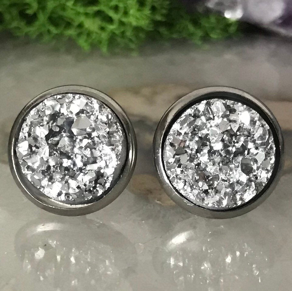 Silver druzys | 12mm druzy earrings | galaxy earrings | crystal earrings | druzy studs | round earrings | Stainless Steel | faux druzy