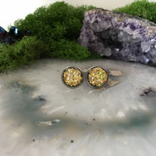 Gold Irridecent Earrings | 12mm Glitter earrings | galaxy earrings | crystal earrings | Sparkle studs | round earrings | Stainless Steel