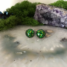 Green Irridecent Earrings | 12mm Glitter earrings | galaxy earrings | crystal earrings | Sparkle studs | round earrings | Stainless Steel