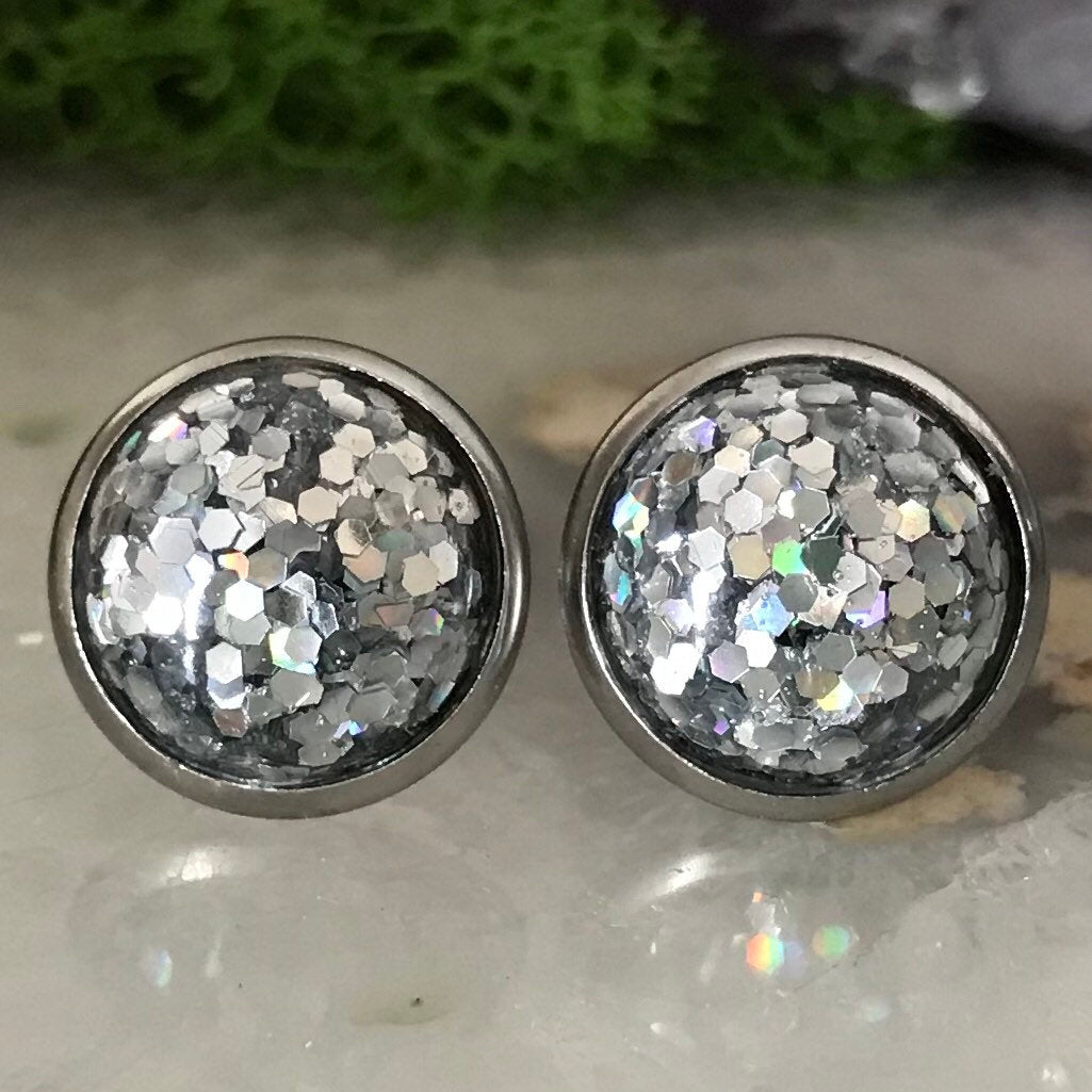 Irridecent Earrings | 12mm Glitter earrings | galaxy earrings | crystal earrings | Sparkle studs | round earrings | Stainless Steel