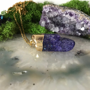 Crackle Quartz Necklace | Deep purple