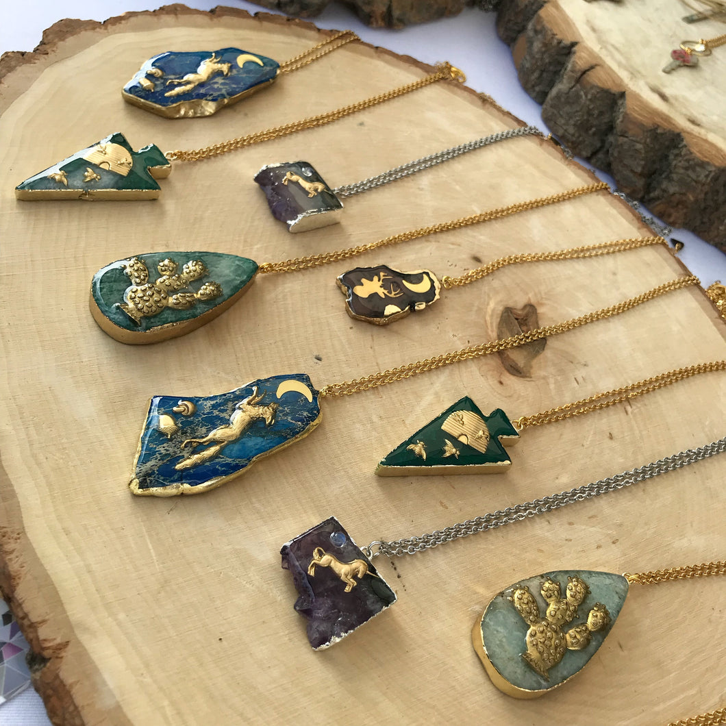 Charmed Brass and Resin covered Gemstone Slice Necklace | Geometric Jewelry