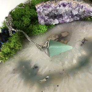 Aventurine Pendulum Necklace | Silver Triangle