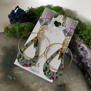 Vintage Floral Fabric Earrings | Stainless Steel Statement Dangle Earrings