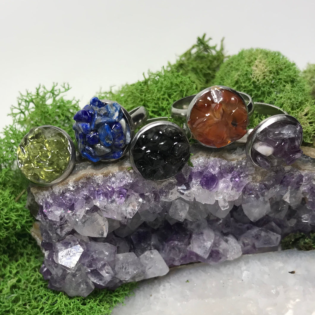 Gemstone Set Rings | Resin Set Adjustable Stainless Steel