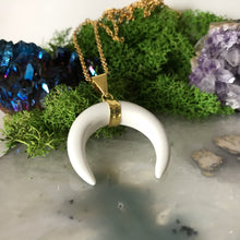 White Howlite Necklace | Gold Crescent Moon
