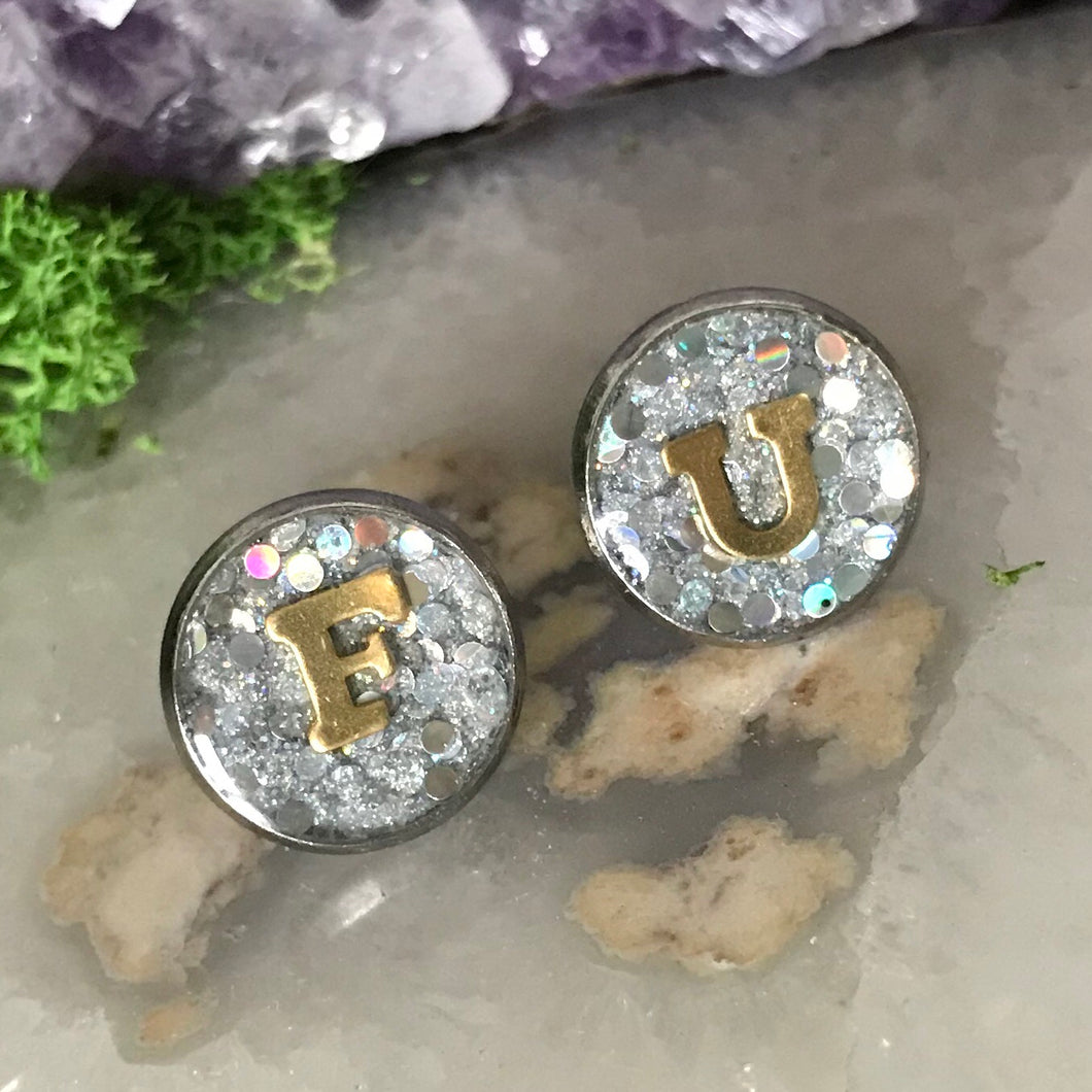 New** F U Iridescent Earrings | 12mm Fuck You Glitter earrings