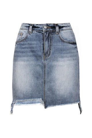 Emma Chewed Hem Denim Mini
