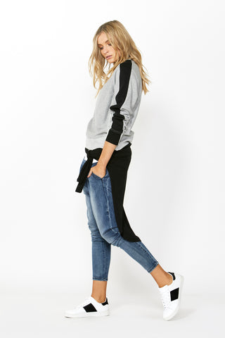 Luxe Step Hem Stripe Sweat