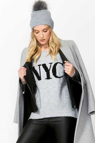 NYC Text Knit Pullover