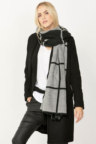 Wide Check Two Tone Scarf
