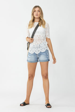 Charlie Roll Cuff Denim Short