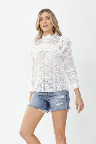 Olivia Crochet Ruffle Top
