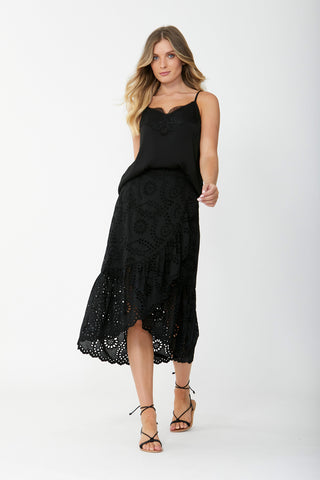 Broderie Lace Midi Skirt