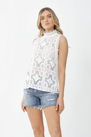 Iris Sleeveless Lace Blouse