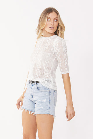 Zoya Lace Ruched Sleeve Top