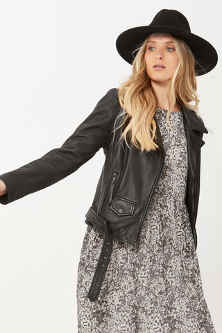 Jamie Leather Biker Jacket