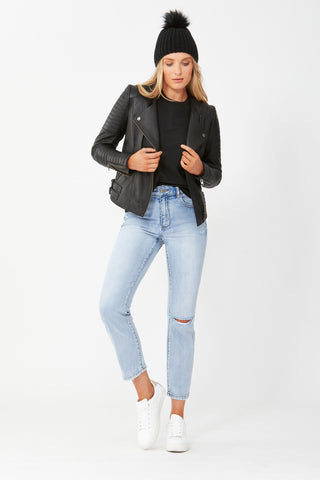 Cory Collarless Leather Jacket