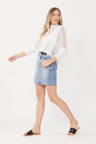 Gina Yoke Front Denim Skirt