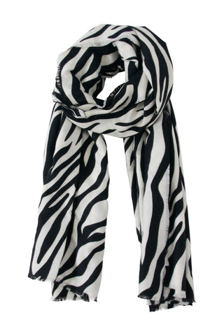 Zebra Soft Frayed Scarf