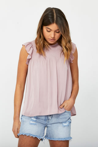 Elise Shirred Ruffle Top